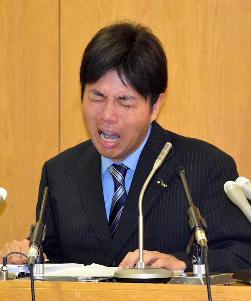Japanese politician Ryutaro Nonomura cried during his now infamous press conference in Hyogo prefecture on July 1, 2014
