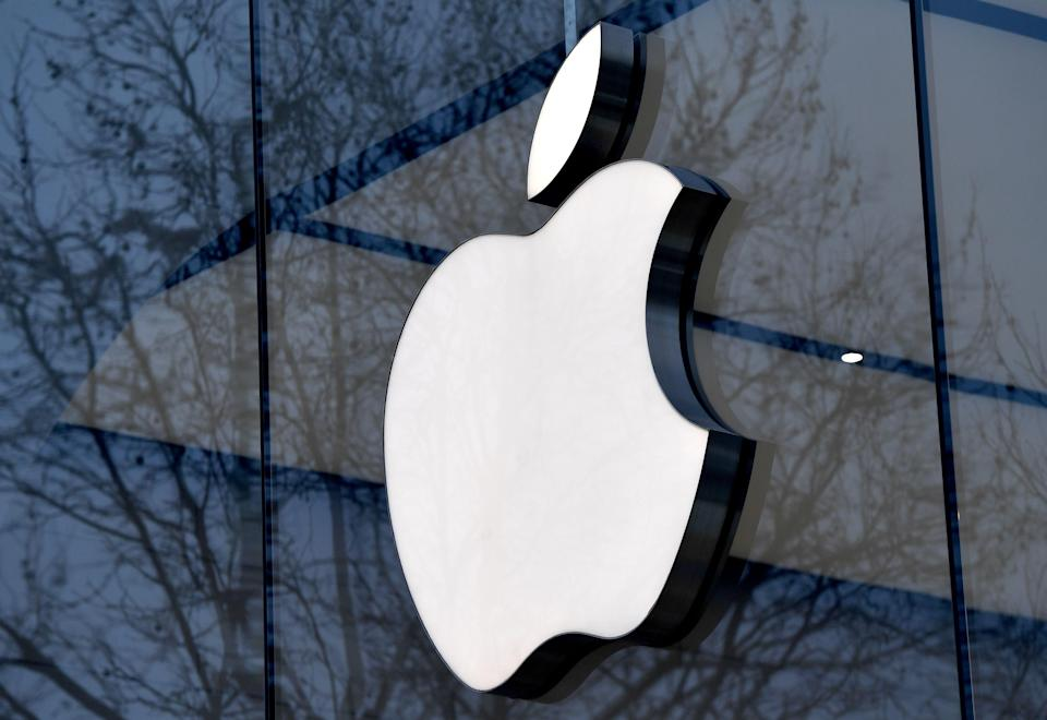 The logo of the US multinational technology company Apple is on display on the facade of an Apple store in Brussels, on February 8, 2018.