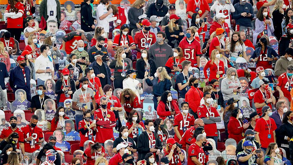 NFL fans, pictured here at Super Bowl LV between the Tampa Bay Buccaneers and Kansas City Chiefs.