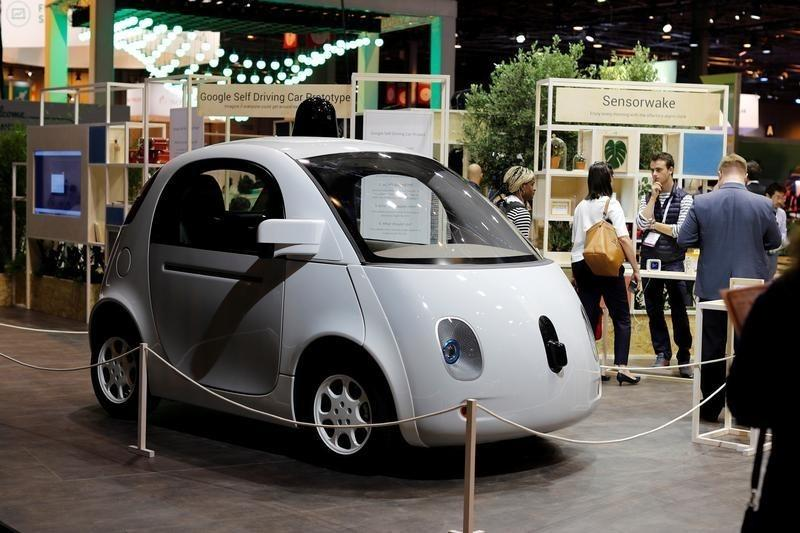 A self-driving car by Google is displayed at the Viva Technology event in Paris