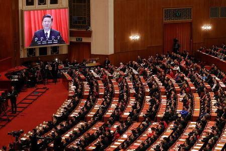Chinese President Xi Jinping delivers his speech at the closing session of the National People's Congress (NPC) at the Great Hall of the People in Beijing, China March 20, 2018. REUTERS/Damir Sagolj     TPX IMAGES OF THE DAY