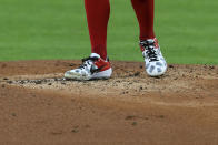 Cincinnati Reds' Trevor Bauer stands on the pitcher's mound in the first inning during a baseball game against the Chicago White Sox in Cincinnati, Saturday, Sept. 19, 2020. (AP Photo/Aaron Doster)