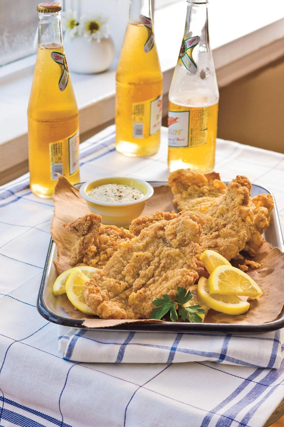 """<p><strong>Recipe: <a href=""""https://www.southernliving.com/recipes/fried-catfish"""" rel=""""nofollow noopener"""" target=""""_blank"""" data-ylk=""""slk:Classic Fried Catfish"""" class=""""link rapid-noclick-resp"""">Classic Fried Catfish</a></strong></p> <p>A homemade batch of fried catfish is begging to become your new go-to summertime supper. </p>"""