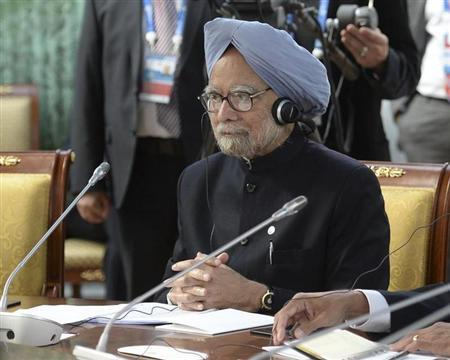 India's Prime Minister Manmohan Singh attends a BRICS leaders' meeting at the G20 Summit in Strelna near St. Petersburg
