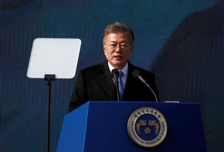 South Korean President Moon Jae-in delivers a speech during a ceremony celebrating the 99th anniversary of the March First Independence Movement against Japanese colonial rule, at Seodaemun Prison History Hall in Seoul
