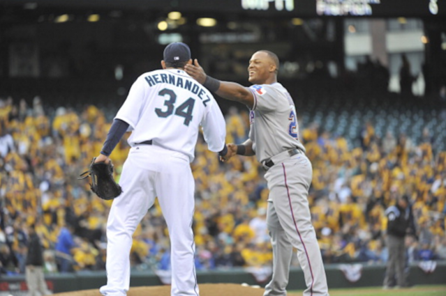 "<a class=""link rapid-noclick-resp"" href=""/mlb/players/7487/"" data-ylk=""slk:Felix Hernandez"">Felix Hernandez</a> and Adrian Beltre shared a heartfelt moment on Monday night. (Getty)"