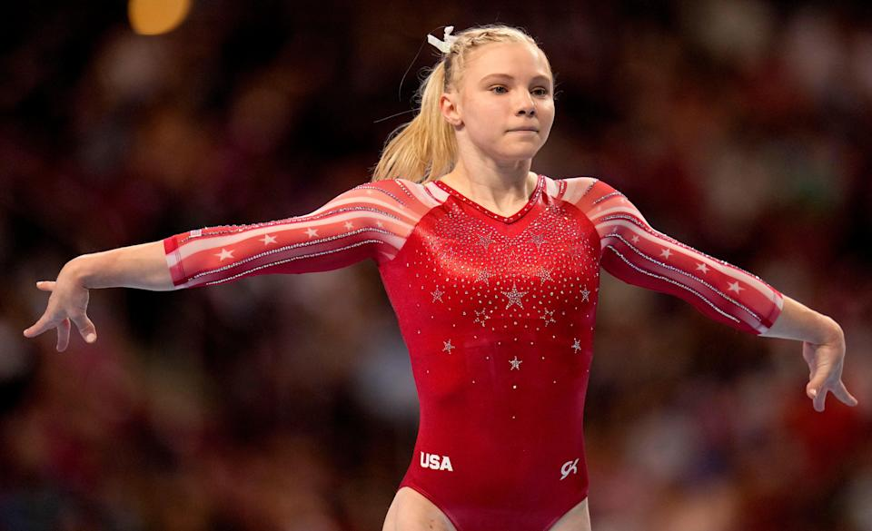 Jade Carey competes in the floor exercise during the women's U.S. Olympic Gymnastics Trials Friday, June 25, 2021, in St. Louis, Missouri.
