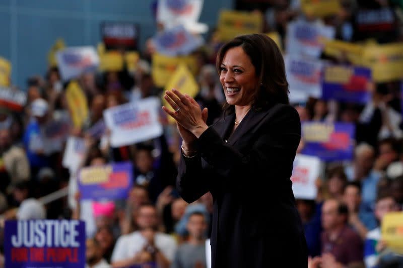 FILE PHOTO: U.S. Senator Kamala Harris holds her first organizing event in Los Angeles as she campaigns in the 2020 Democratic presidential nomination race in Los Angeles