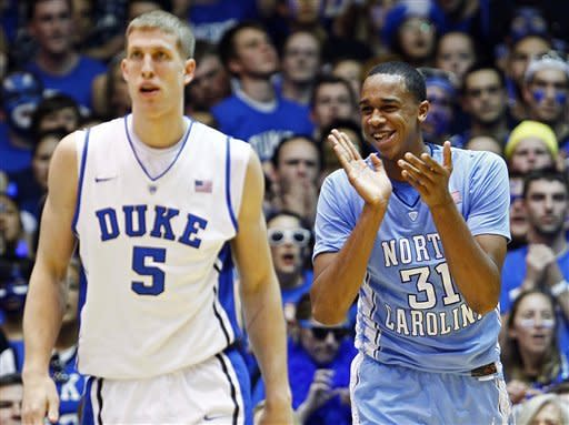 Duke's Mason Plumlee (5) walks away as North Carolina's John Henson (31) reacts following a basket during the first half of an NCAA college basketball game in Durham, N.C., Saturday, March 3, 2012. North Carolina won 88-70. (AP Photo/Gerry Broome)