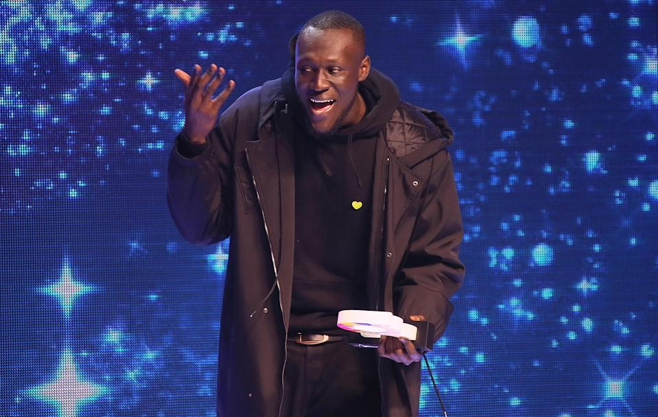 Stormzy delivering a speech during his Global Awards win. (PA)