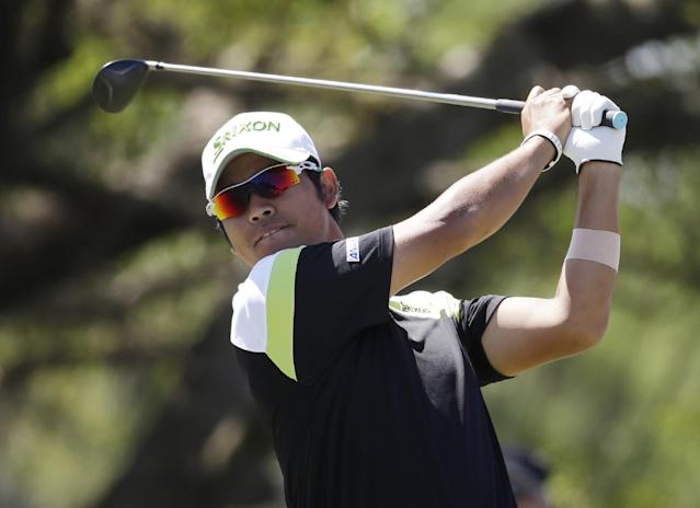 Hideki Matsuyama, of Japan, hits from the fifth tee during the third round of the Cadillac Championship golf tournament Saturday, March 8, 2014, in Doral, Fla. (AP Photo/Lynne Sladky)