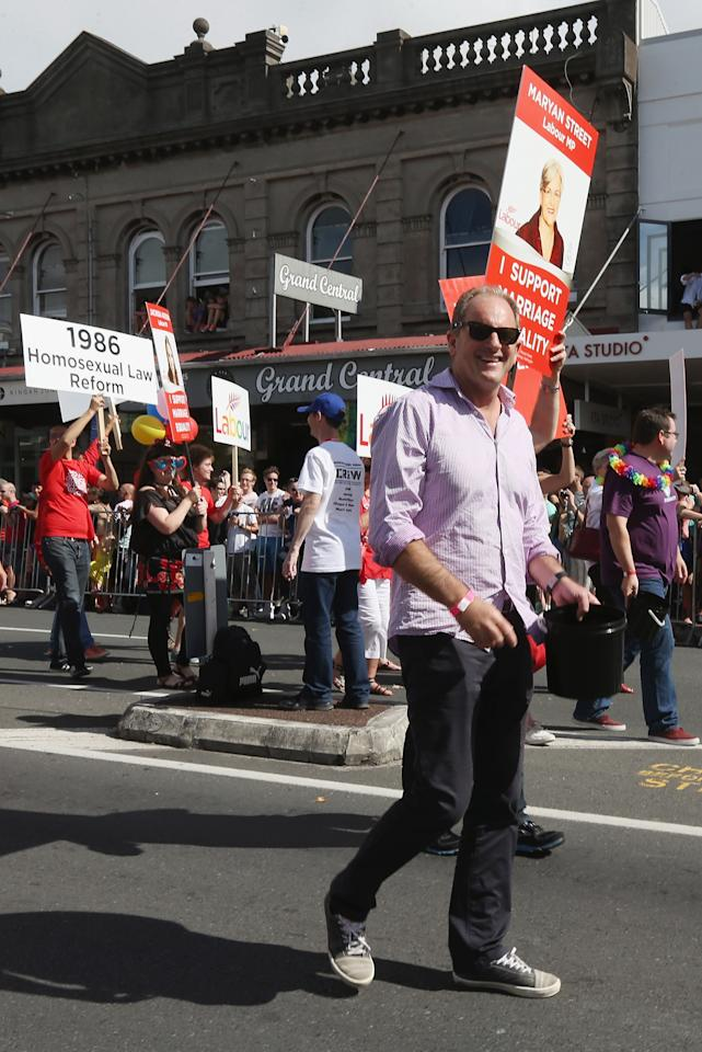 AUCKLAND, NEW ZEALAND - FEBRUARY 16:  David Shearer, Labour Leader participates in the parade down Ponsonby Road during the Pride parade on February 16, 2013 in Auckland, New Zealand. The gay parade, celebrating lesbian, gay, bisexual and transgender (LGBT) culture has returned to Ponsonby Road after 10 years and organisers plan to put the parade on the tourism map, in the style of the Sydney Mardi Gras.  (Photo by Sandra Mu/Getty Images)