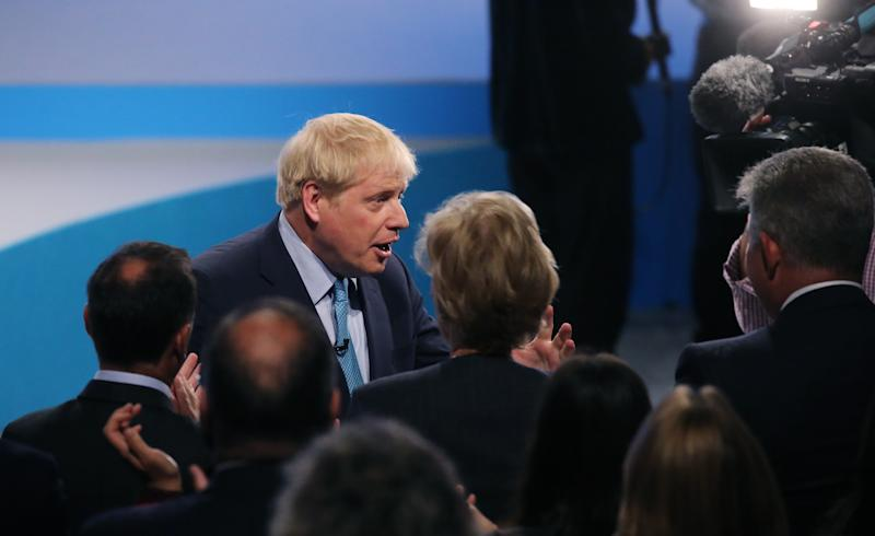 Prime Minister Boris Johnson greets cabinet ministers following his keynote speech on the final day of the Conservative Party Conference being held at the Manchester Convention Centre. Picture dated: Wednesday October 2, 2019. Photo credit should read: Isabel Infantes/ EMPICS Entertainment.