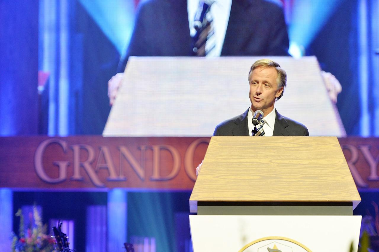 NASHVILLE, TN - MAY 02:  (EXCLUSIVE COVERAGE) Tennessee governor Bill Haslam speaks at the funeral service for George Jones at The Grand Ole Opry on May 2, 2013 in Nashville, Tennessee. Jones passed away on April 26, 2013 at the age of 81.  (Photo by Rick Diamond/Getty Images for GJ Memorial)