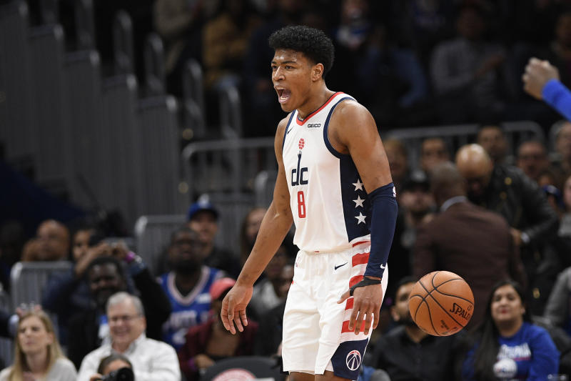 Washington Wizards forward Rui Hachimura (8), of Japan, reacts during the first half of an NBA basketball game against the Philadelphia 76ers, Thursday, Dec. 5, 2019, in Washington. (AP Photo/Nick Wass)