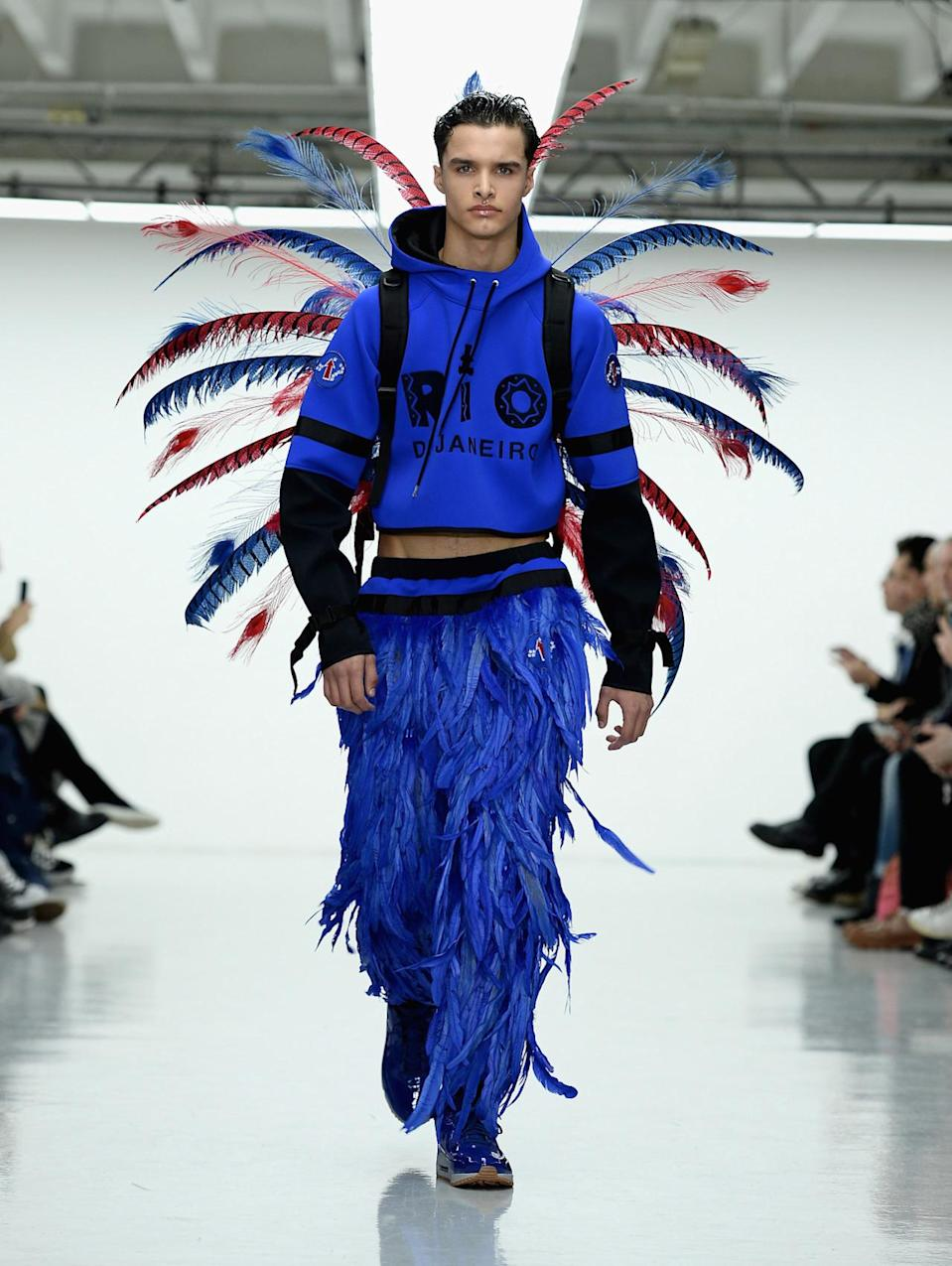 "<p>For his Fall 2016 collection, Abley was inspired by Brazil, particularly the coastal city of Rio de Janeiro. This translated to full-on, low-slung feather pants and a backpack also adorned with plumes. Based on this look we're guessing that another possible inspiration might have been the <a href=""https://www.yahoo.com/style/victoria-secret-fashion-show-2015-212906514.html"" data-ylk=""slk:Victoria's Secret runway show;outcm:mb_qualified_link;_E:mb_qualified_link;ct:story;"" class=""link rapid-noclick-resp yahoo-link"">Victoria's Secret runway show</a>. <i>Photo: Getty Images </i></p>"