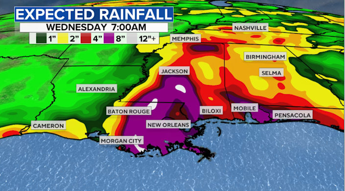 The expected rainfall from Ida. / Credit: CBS News