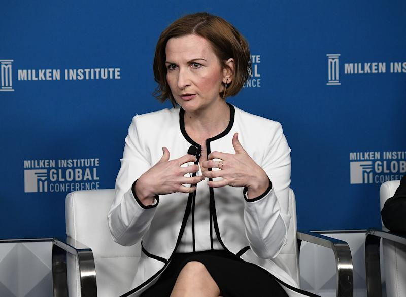 BEVERLY HILLS, CA - APRIL 29: Jelena McWilliams, Chairman, Federal Deposit Insurance Corporation, participates in a panel discussion during the annual Milken Institute Global Conference at The Beverly Hilton Hotel on April 29, 2019 in Beverly Hills, California. (Photo by Michael Kovac/Getty Images)
