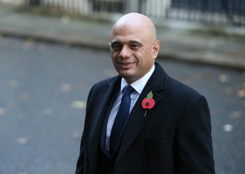 Chancellor of the Exchequer Sajid Javid in Downing Street arriving for the Remembrance Sunday service at the Cenotaph memorial in Whitehall, central London. (Photo by Jonathan Brady/PA Images via Getty Images)