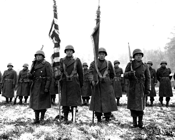 """<span class=""""caption"""">Soldiers of the Japanese American 442nd Regimental Combat Team in Bruyères, France.</span> <span class=""""attribution""""><a class=""""link rapid-noclick-resp"""" href=""""https://en.wikipedia.org/wiki/File:442nd_RCT_citation_presentation_in_Bruy%C3%A8res_1944-11-12.jpg"""" rel=""""nofollow noopener"""" target=""""_blank"""" data-ylk=""""slk:U.S. Army Signal Corps via Wikimedia Commons"""">U.S. Army Signal Corps via Wikimedia Commons</a></span>"""