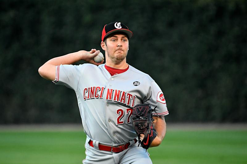 Trevor Bauer #27 of the Cincinnati Reds warms up before the game against the Chicago Cubs at Wrigley Field on September 18, 2019 in Chicago, Illinois. (Photo by Quinn Harris/Getty Images)