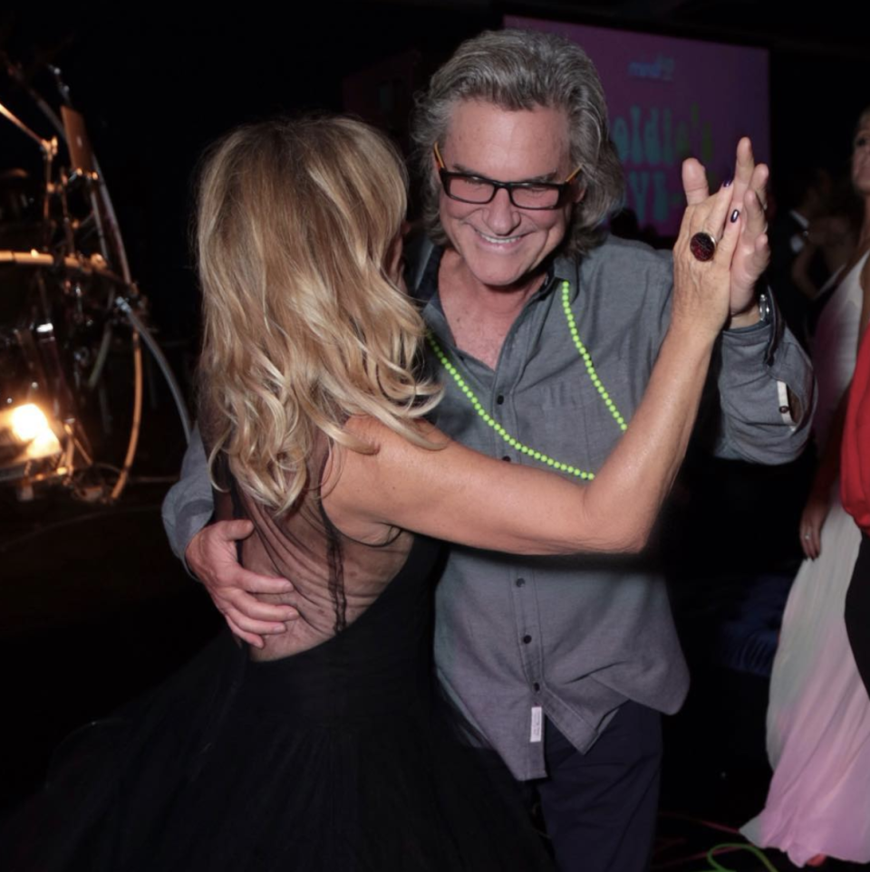 """<p>Talk about couple goals! The actress and her main man of more than 30 years, Kurt Russell, still know how to keep things moving. """"Dancing with my baby at #GoldiesLoveIn,"""" the actress captioned this pic of them at her annual benefit.  The 72-year-old stunner created the <a rel=""""nofollow noopener"""" href=""""https://mindup.org/thehawnfoundation/"""" target=""""_blank"""" data-ylk=""""slk:Hawn Foundation"""" class=""""link rapid-noclick-resp"""">Hawn Foundation</a> to help children discover the tools and skills to deal with high levels of stress and anxiety. (Photo: <a rel=""""nofollow noopener"""" href=""""https://www.instagram.com/p/BbNYxLoDXte/?taken-by=officialgoldiehawn"""" target=""""_blank"""" data-ylk=""""slk:Goldie Hawn via Instagram"""" class=""""link rapid-noclick-resp"""">Goldie Hawn via Instagram</a>) </p>"""
