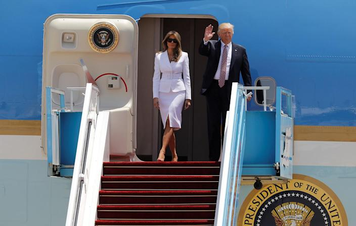 <p>U.S. President Donald Trump and first lady Melania Trump arrive aboard Air Force One at Ben Gurion International Airport in Lod near Tel Aviv, Israel May 22, 2017. (Photo: Amir Cohen/Reuters) </p>