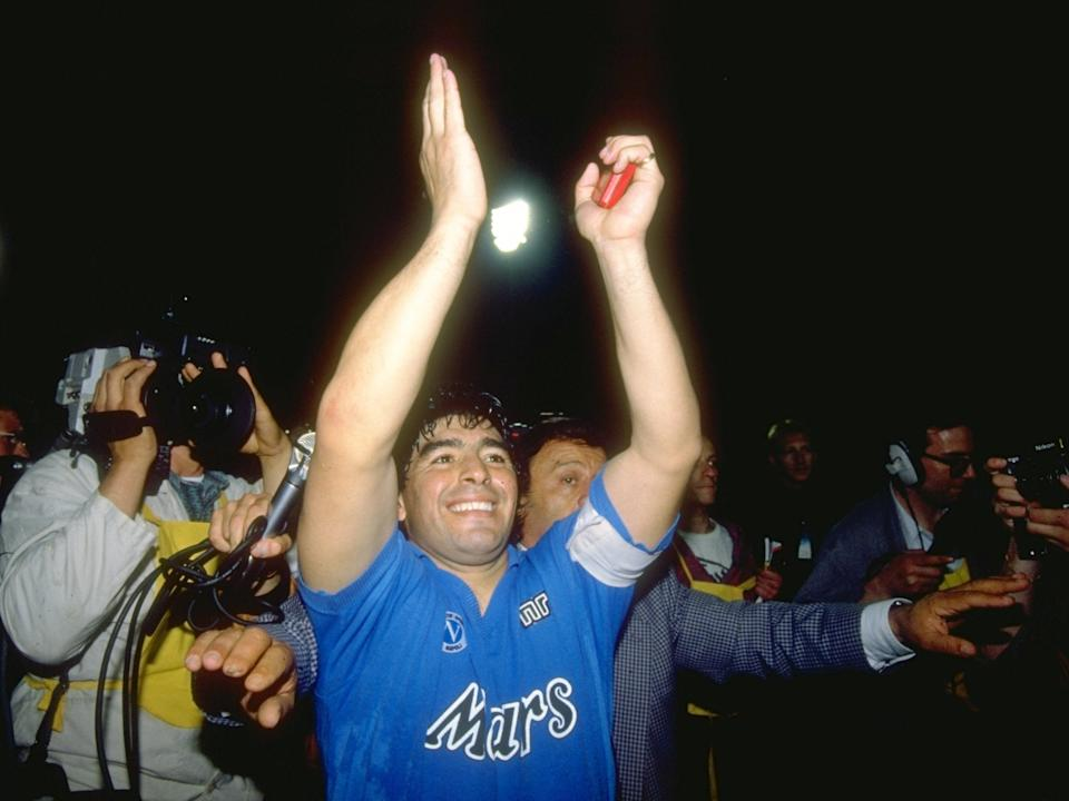 <p>Celebrating with Napoli after defeating Stuttgart in 1989's Uefa Cup</p>Getty