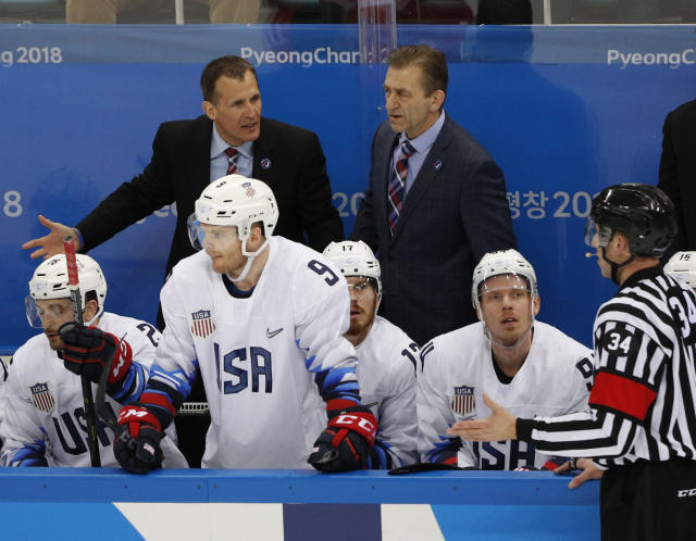U.S. coach Tony Granato is not happy during Team USA's game against Olympic Athletes from Russia. (REUTERS/Brian Snyder)