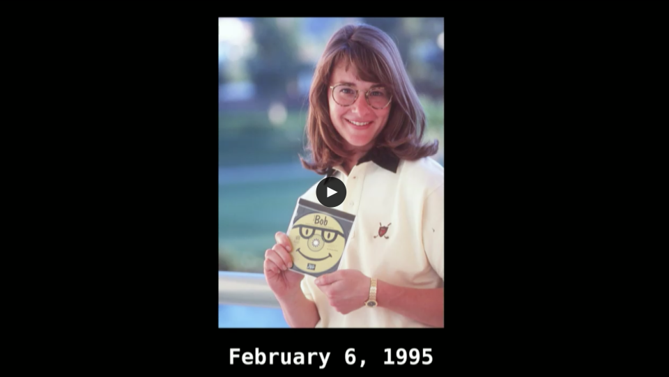A younger Melinda Gates poses with Microsoft Bob software in February 1995.