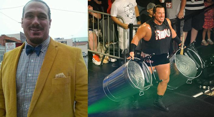 Terrance Guido Gerin and Gerin as wrestler 'Rhino' at the Stars of TNA Impact Wrestling in 2014. (Photos: terranceguidogerin.com, Jackie Brown/Splash News)