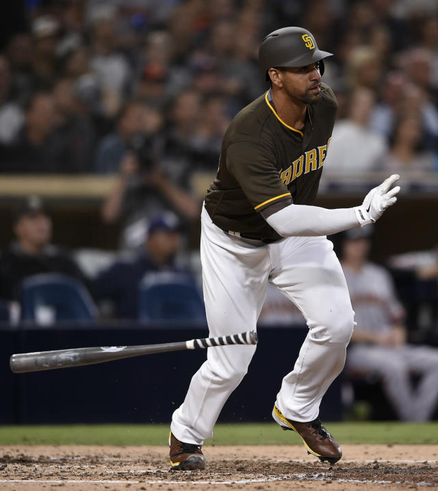 San Diego Padres' Tyson Ross drops his bat after hitting an RBI-single during the fifth inning of a baseball game against the San Francisco Giants in San Diego, Friday, April 13, 2018. (AP Photo/Kelvin Kuo)