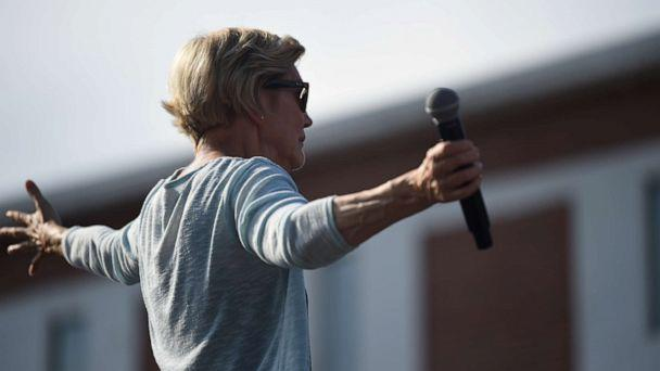 PHOTO: Sen. Elizabeth Warren of Massachusetts addresses a crowd at Clinton College, a historically black college and university in Rock Hill, S.C., Saturday, Sept. 28, 2019. She spoke in Michigan on Sunday. (Meg Kinnard/AP)