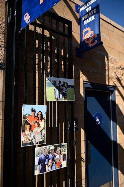 PHOTO: Pictures of the Altobelli family are shown at the entrance of the Orange Coast College baseball stadium prior to a ceremony held in Costa Mesa, Calif., Jan. 28, 2020. (Kelvin Kuo/AP)