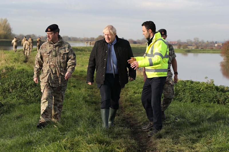 Prime Minister Boris Johnson during a visit to Stainforth, Doncaster, after the area suffered serious flooding: PA