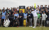 United States' Dustin Johnson plays his tee shot on the 4th during a practice round for the British Open Golf Championship at Royal St George's golf course Sandwich, England, Wednesday, July 14, 2021. The Open starts Thursday, July, 15. (AP Photo/Ian Walton)