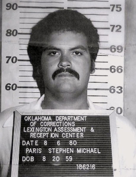In this photo provided by the Oklahoma Department of Corrections, Stephen Michael Paris is pictured in a photo dated Aug. 6, 1980. (Oklahoma Department of Corrections via AP)