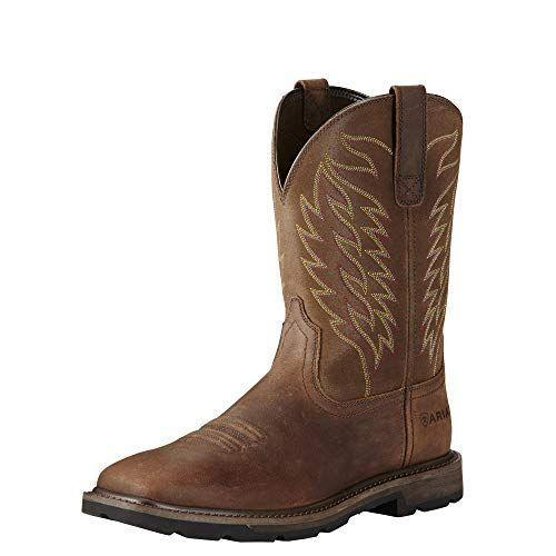 """<p><strong>ARIAT</strong></p><p>amazon.com</p><p><strong>$130.00</strong></p><p><a href=""""https://www.amazon.com/dp/B01LB2TJ5M?tag=syn-yahoo-20&ascsubtag=%5Bartid%7C2164.g.32883915%5Bsrc%7Cyahoo-us"""" rel=""""nofollow noopener"""" target=""""_blank"""" data-ylk=""""slk:Shop Now"""" class=""""link rapid-noclick-resp"""">Shop Now</a></p><p>These full-grain leather boots are sturdy, comfortable, and incredibly well-reviewed. </p>"""