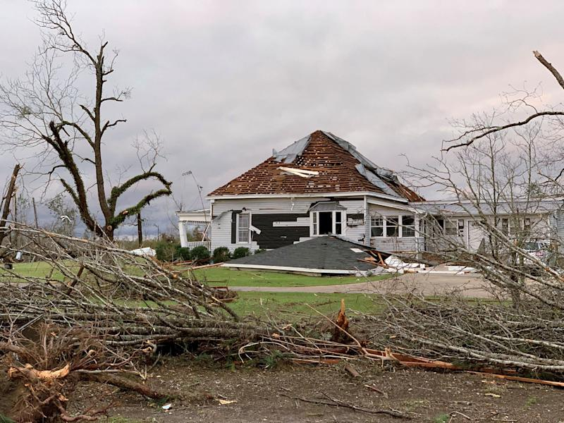 Debris and a damaged house seen following a tornado in Beauregard, Alabama, U.S. in this March 3, 2019 still image obtained from social media video on March 4, 2019. (Photo: Scott Fillmer /via Reuters)