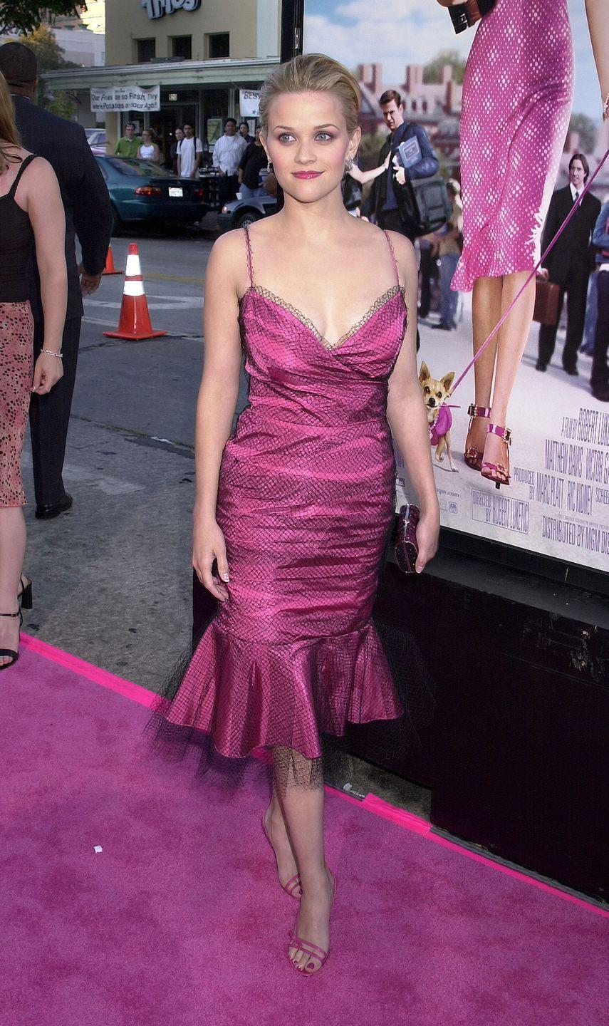 <p>For the premiere of Legally Blonde, the actress kept it on-theme in a pink frock. </p>