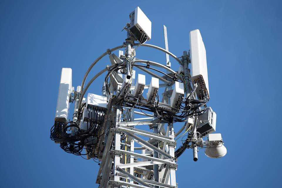 CARDIFF, UNITED KINGDOM - APRIL 04: A 5G mobile phone mast on April 04, 2020 in Cardiff, United Kingdom. There have been isolated cases of 5G phone masts being vandalised following claims online that the masts are responsible for coronavirus. The Coronavirus (COVID-19) pandemic has spread to many countries across the world, claiming over 70,000 lives and infecting over 1 million people. (Photo by Matthew Horwood/Getty Images)