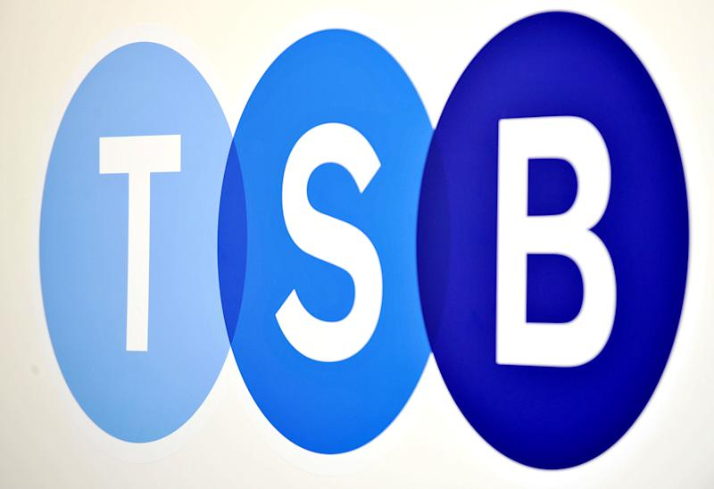 TSB logo in Baker Street, London on the bank's first day of trading, launched by Lloyds Banking Group, more than 600 branches and eight million accounts have been split from Lloyds in order to meet European competition rules. (Photo by Nick Ansell/PA Images via Getty Images)