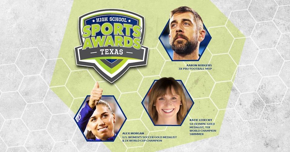 Aaron Rodgers, Alex Morgan and Katie Ledecky will be among a highly decorated group of presenters and guests in the Texas High School Sports Awards.