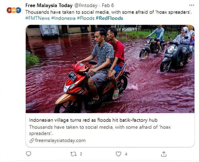 A picture of Indonesia's red flood that shows the present condition