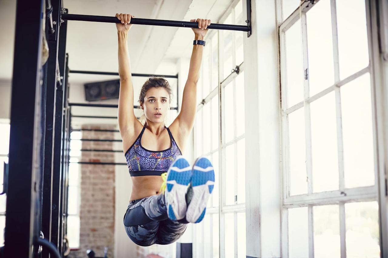 <p>This move challenges your core as well as your hamstring flexibility and the strength of your hip flexors, Eric and Ryan told POPSUGAR.</p> <ul> <li>Jump up to a bar (or step onto a box if you need help reaching), and hang from the bar with both palms facing away from you.</li> <li>Use your abdominal muscles to raise both feet as high as you can, keeping your legs straight. Aim for parallel or higher, if you can.</li> <li>Hold this position for as long as you can, working up to 20 to 30 seconds.</li> <li>This counts as one rep.</li> </ul>