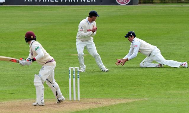 "<span class=""element-image__caption"">Alastair Cook at slip holds on to a chance from Somerset's Tom Abell.</span> <span class=""element-image__credit"">Photograph: Rex/Shutterstock</span>"