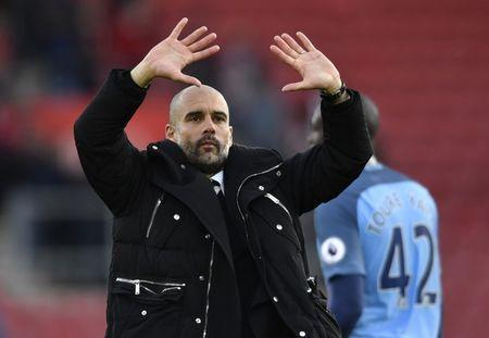 Britain Soccer Football - Southampton v Manchester City - Premier League - St Mary's Stadium - 15/4/17 Manchester City manager Pep Guardiola celebrates after the match Action Images via Reuters / Tony O'Brien Livepic