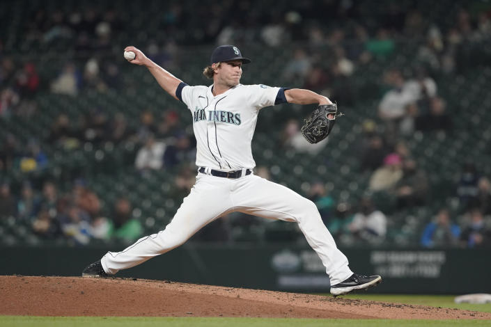 Seattle Mariners pitcher Drew Steckenrider throws against the Baltimore Orioles during the fifth inning of a baseball game, Monday, May 3, 2021, in Seattle. (AP Photo/Ted S. Warren)