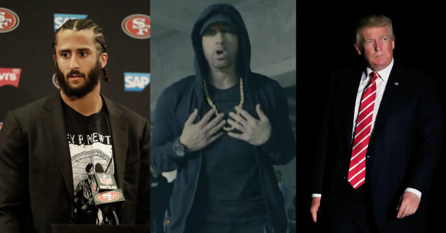 Colin Kaepernick tweeted his support for Eminem after the rapper released a song against President Donald Trump. (AP Images/BET)