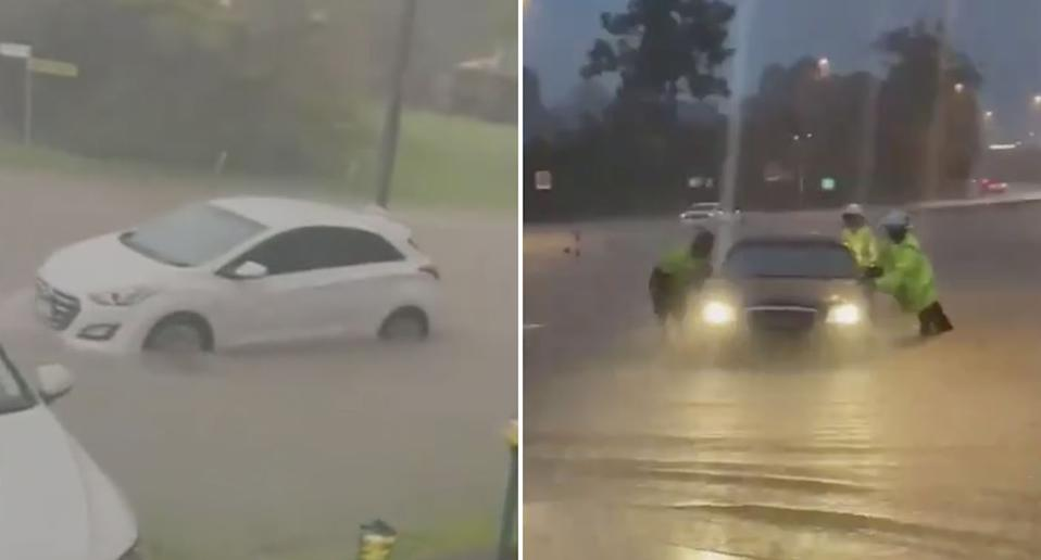 Cars in Queensland floodwaters.